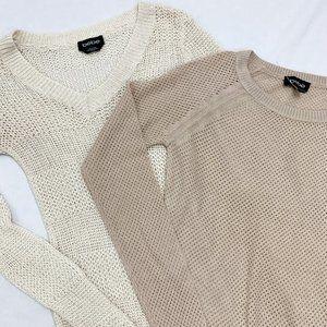 Lot of 2 Cream & Tan BEBE Sweaters